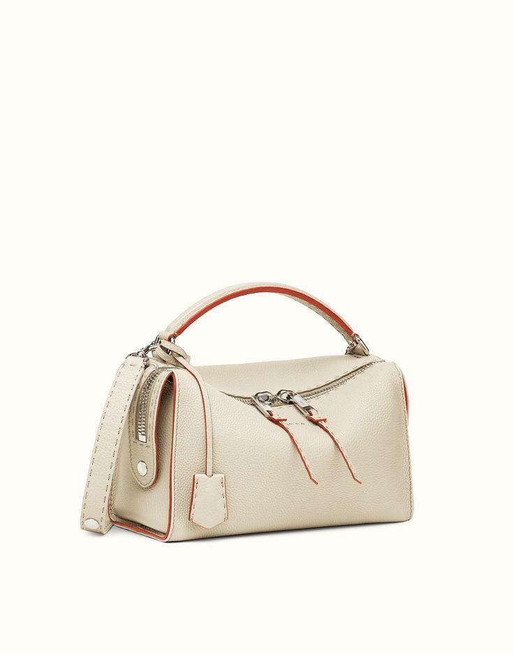 FENDI | LEI SELLERIA white Roman leather Boston bag