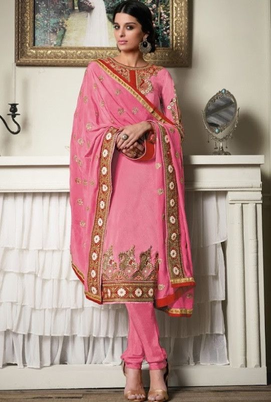Pink designer indian suit with embroidered dupatta