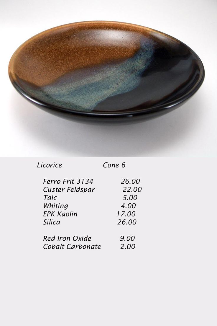 and another glaze:Crystal Emerald Green (glossy, transparent with crystals without any special heating procedure) Lithium carbonate 10.8 Soda Feldspar 27.3 Wollastonite 27.2 EPK 11.7 Silica 23.0 Total 100.0 +2% Bentonite +4% copper carbonate (or +0.5% cobalt carbonate for blue)