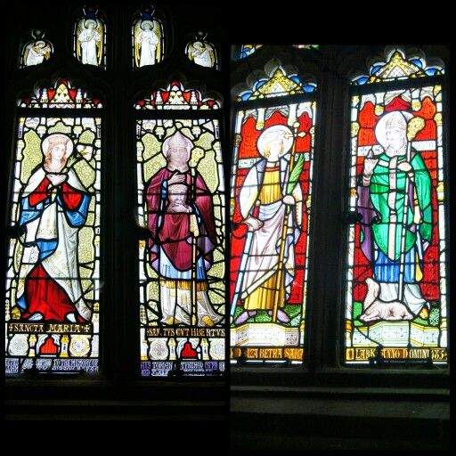 Surviving stained glass at Tynemouth Priory. July 2015.