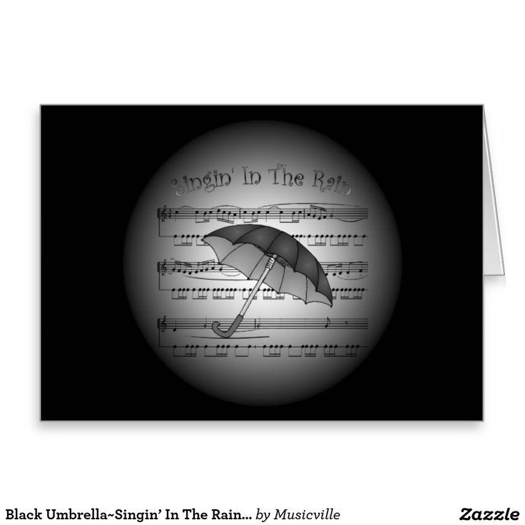 Black Umbrella~Singin' In The Rain~3-D Sheet Music Greeting Card