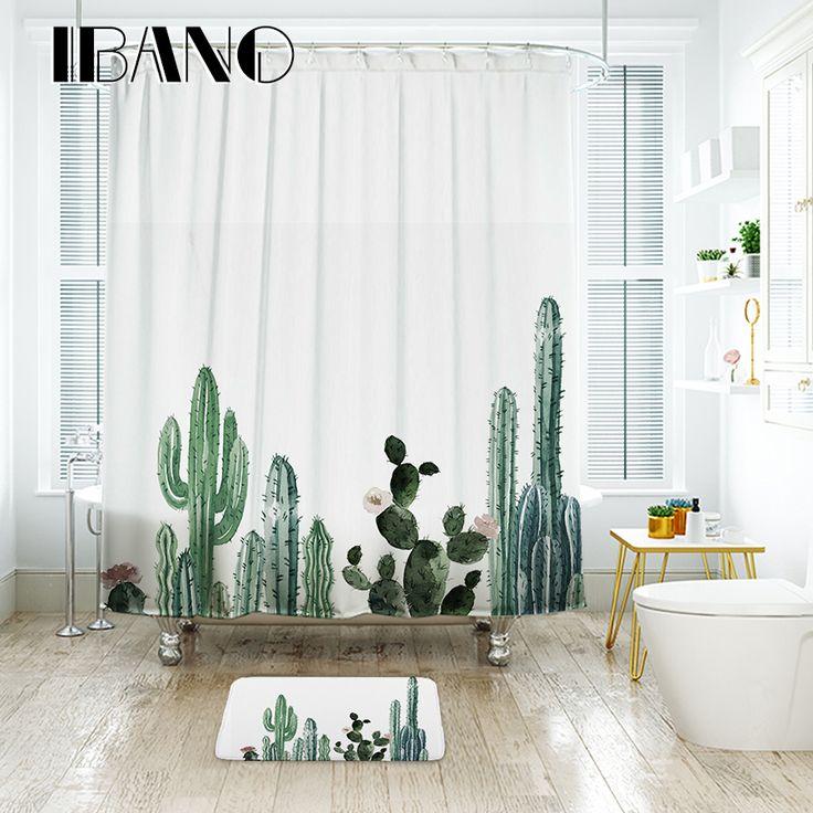 IBANO Tropische Cactus Douchegordijn Waterdicht Polyester Bad Gordijn Voor De Badkamer Versieren Met 12 stks Plastic Haken
