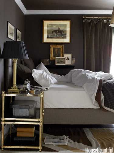 This room is inspired by the colors from a Louis Vuitton bag.Wall Colors, Bedrooms Design, Masculine Bedrooms, Dark Walls, Master Bedrooms, Gold Accent, House, Dark Bedrooms, Bedrooms Decor