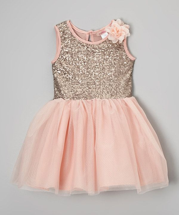 Paulinie Pink Rosette Sequin Overlay Dress Toddler