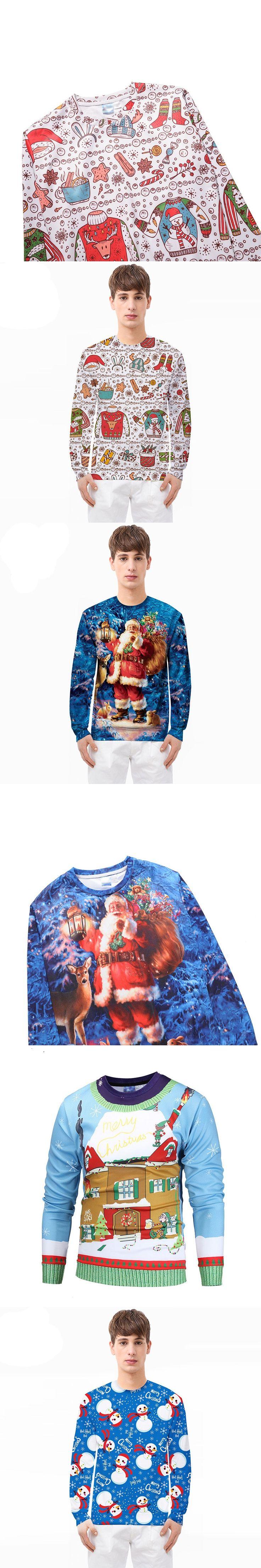 Men T shirts Christmas Santa Claus Printed Men Long Sleeve Tee Tops Fashion Father Christmas T-shirt Brand Casual Xmas Tee