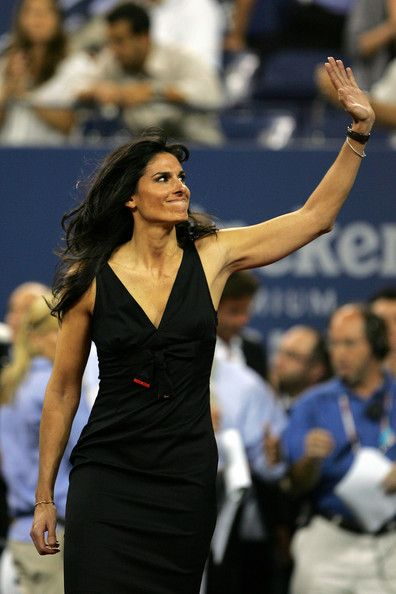US Open Champion Gabriela Sabatini walks on the court for the opening ceremonies during Day 1 of the 2008 U.S. Open at the USTA Billie Jean King National Tennis Center on August 25, 2008 in the Flushing neighborhood of the Queens borough of New York City.  (2008-08-25 00:00:00 - Source: Matthew Stockman/Getty Images North America) | #Tennis #Sports #Gabriela #Sabatini #Argentine |: Argentine Gabriela, Female Tennis, Tennis Sports, National Tennis, Queen Borough, Gabriela Sabatini, Argento Sports, Greatest Tennis, Open 2008