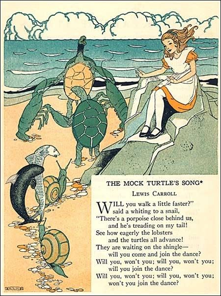 A 1920s childs storybook illustration titled The Mock turtle Song by Lewis Carroll with Alice in Wonderland with dancing mock turtles and