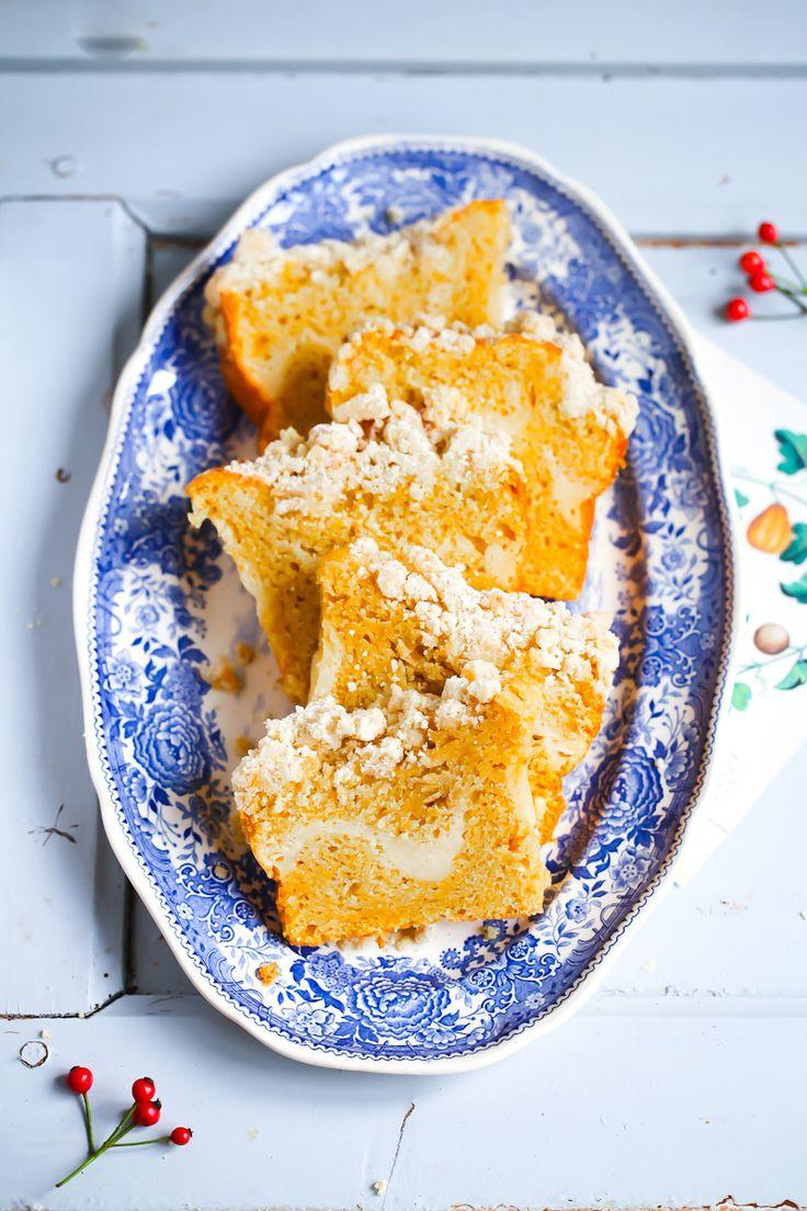 Kürbiskuchen cheesecake Füllung und Zimtstreusel - pumpkin cake with cream cheese filling and cinnamon streusel topping