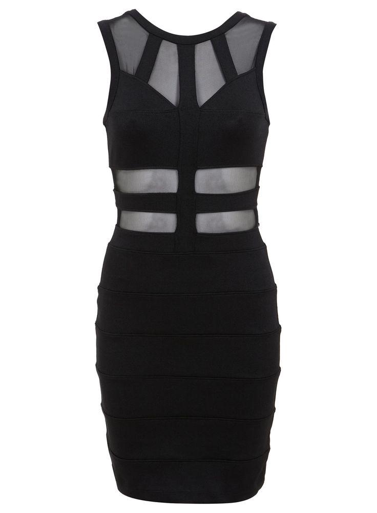 Black Panelled Bandage Dress - The Late Night Edit - Clothing