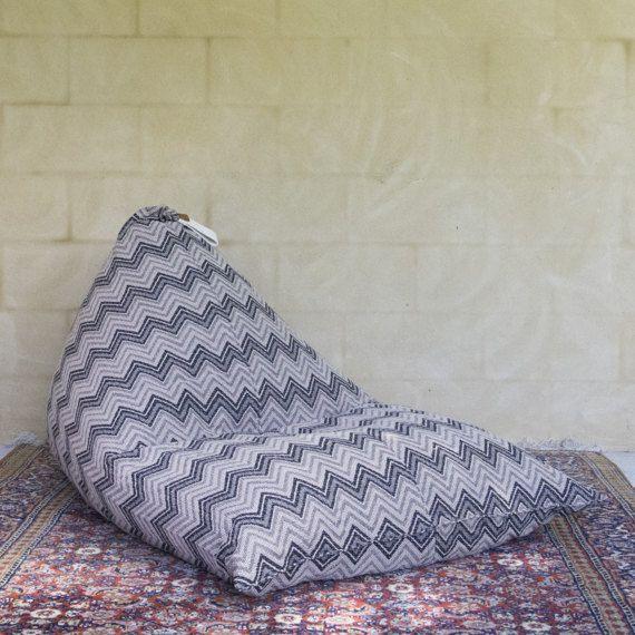 Bean Bag Chair Seat Lounger Zig Zag Pattern By Sevenseashome
