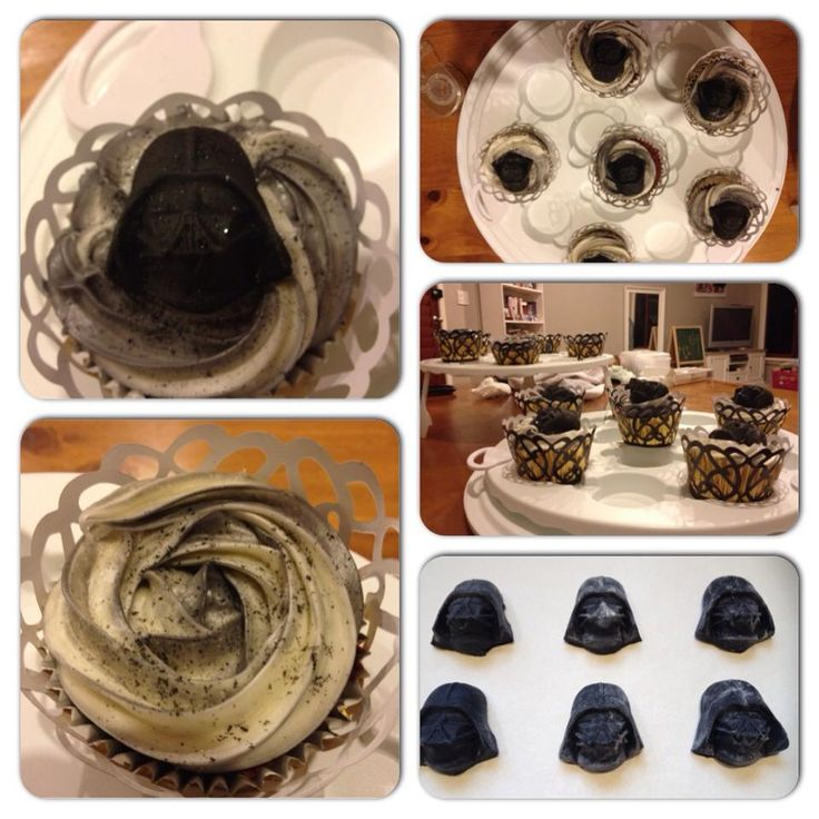 Star Wars themed 7th birthday. Vanilla cupcakes (Nigella's recipe) with cream cheese frosting and edible black glitter. The Darth Vader moulds are made from marshmallow fondant and the silicon moulds were purchased online.