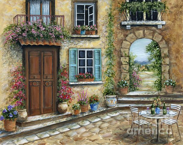 """Romantic Tuscan Courtyard"" by Marilyn Dunlap."