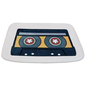 Orange Cassette Bathmat from cafepress store: AG Painted Brush T-Shirts. #cassette #bathmat #bathroom