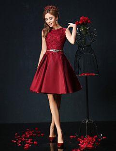 vestido de festa de regresso a casa cocktail - Borgonha / jade vestido de baile jóia Short / Mini laço / charmeuse