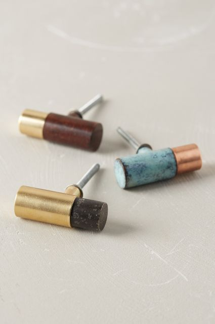Clandon Knob - anthropologie.com // Brass and different oxidized metal knobs