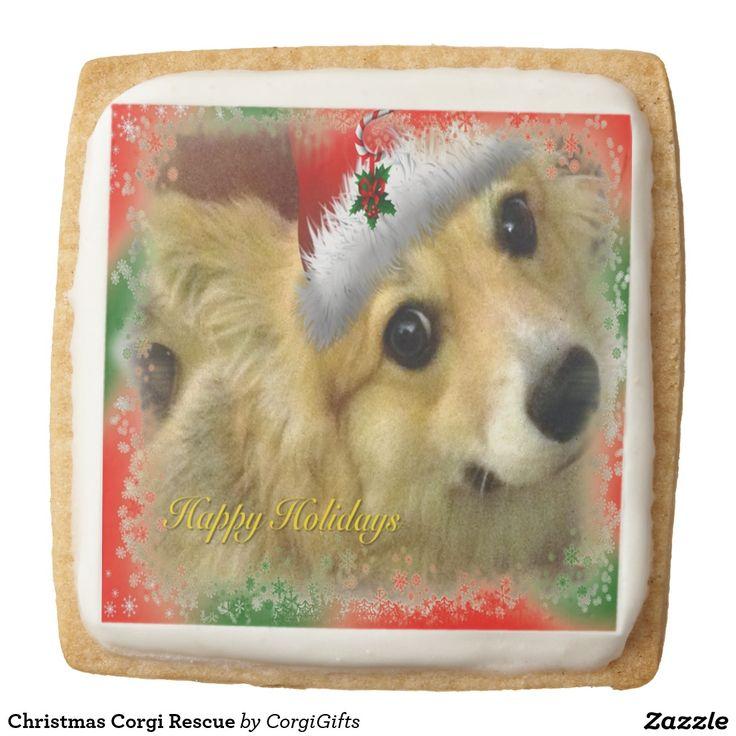 Christmas Corgi Rescue Round Premium Shortbread Cookie