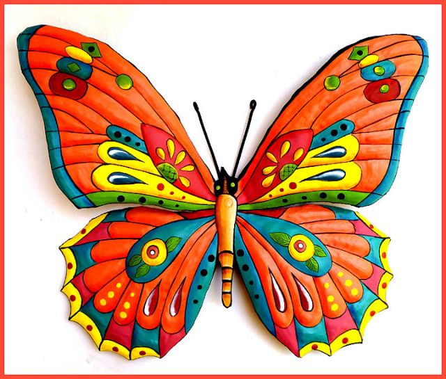 "Butterfly Wall Hanging - Painted Metal Tropical Decor - Garden Art - 24"" - See more tropical designs at Tropic Accents – www.tropicaccents.com"