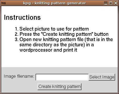 http://sourceforge.net/projects/kpg/ is a free program that can create knitting patterns out of pictures. Template for knitting pattern can be edited in a regular HTML editor like NVU http://www.nvu.com/ if you do not like the default patterns that are generated. Road map ideas include run as cgi and generating intarsia knitting charts (see http://www.sweaterscapes.com/intars.htm and http://en.wikipedia.org/wiki/Intarsia_%28knitting%29).