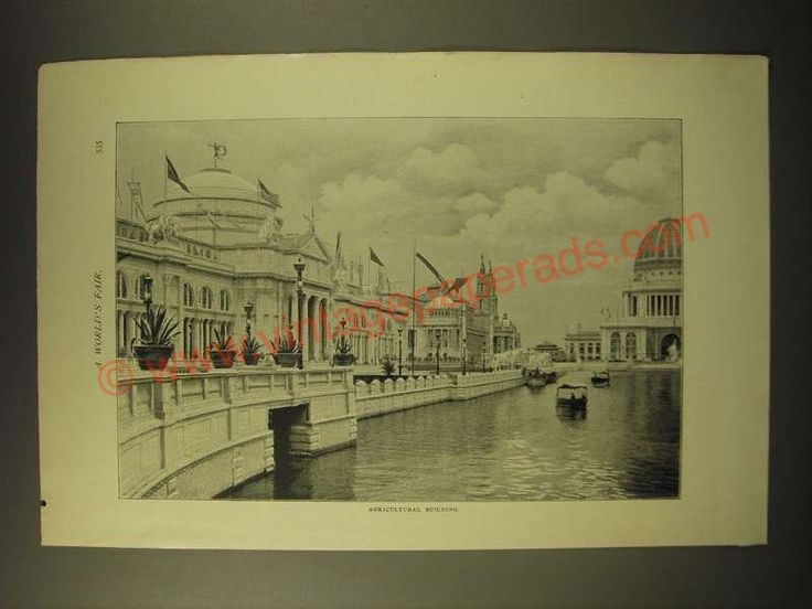 1893 Print of a Photograph of the World's Fair - Agricultural Building