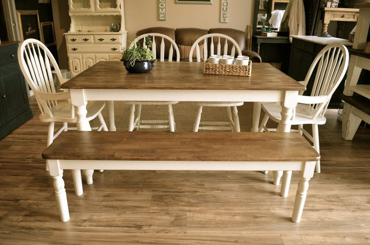 White Farmhouse Dining Set with one Bench