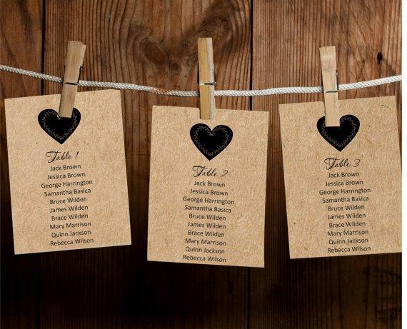 Wedding Seating Chart Editable Text Rustic Kraft by BSNPartyArt
