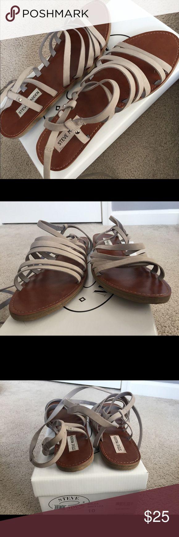 Grey Steve Madden gladiator sandals Grey Steve Madden sandals worn once, little to no flaw Steve Madden Shoes Sandals