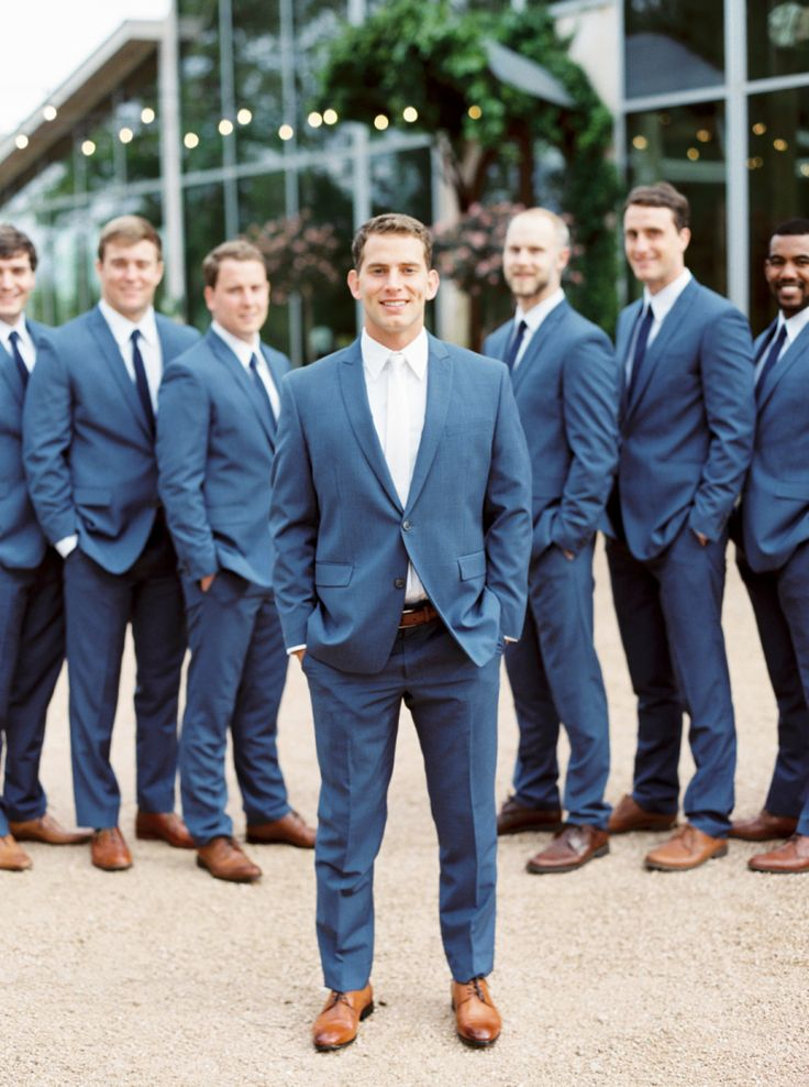 These dapper groomsmen in navy. Photography : Jen Dillender Photography Read More on SMP: http://www.stylemepretty.com/texas-weddings/austin/2016/08/04/organic-spring-wedding-in-texas/