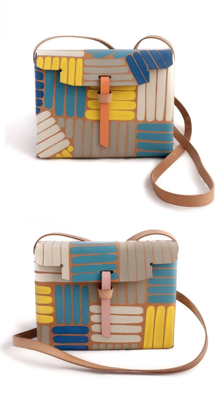 Playa bag - This colorful bag is part of the continued Drawing collection by Pendular Pocket. Each piece of the collection is specially hand-drawn and painted over natural leather in an artisanal fashion, making the piece one of a kind.