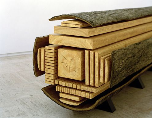 """Swiss artist Vincent Kohler created this incredible sculpture showing the different cuts one can make in a log to create dimensional lumber and stock. As Jason points out, it's reminiscent of, """"the iconic butchery map showing the different cuts of meat. The sculpture, interestingly, is made out of polystyrene."""""""