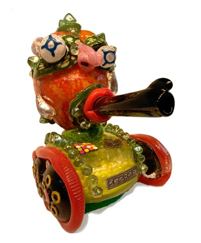 """Tanke You"", 2010, blown glass and mixed media, 17"" x 9.5"" x 18"" De la Torre Brothers"