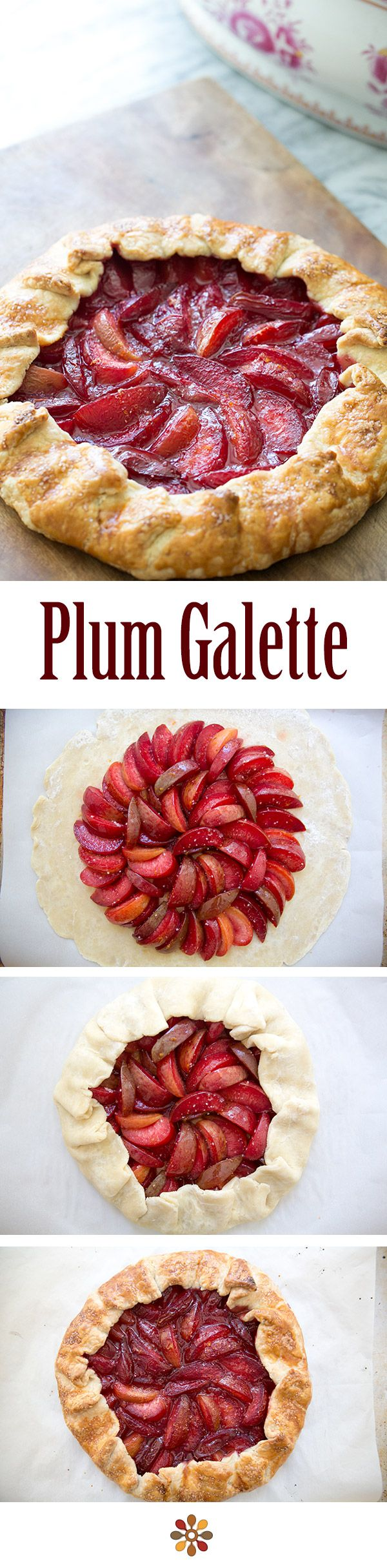 Plum Galette ~ Bright and delicious rustic plum tart, using a variety of tart plums and pluots. Great dessert for a summer holiday gathering! ~ SimplyRecipes.com