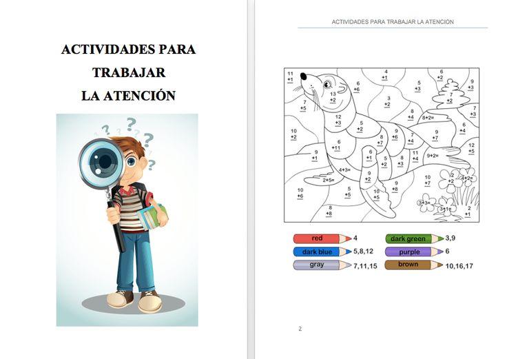 #TDAH EJEMPLOS DE ACTIVIDADES (80) PARA TRABAJAR LA ATENCIÓN  PARA INFANTIL Y PRIMARIA
