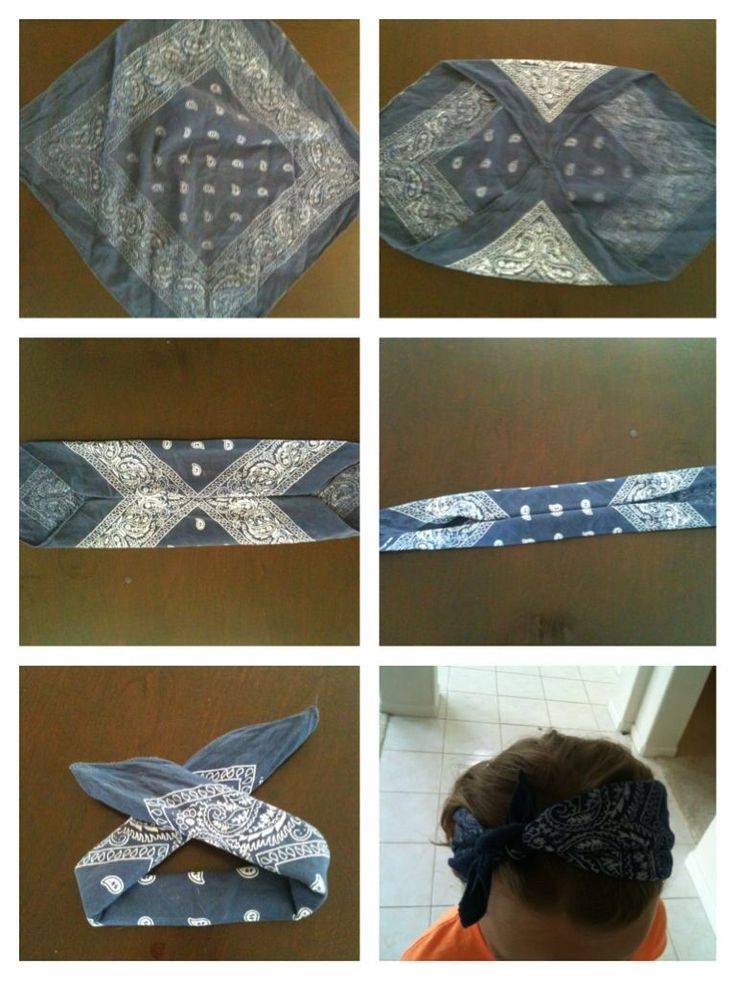 Bandana headband tutorial                                                                                                                                                                                 More