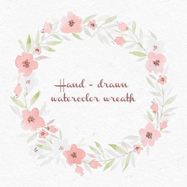 水彩花の花輪 無料ベクター                                                       …