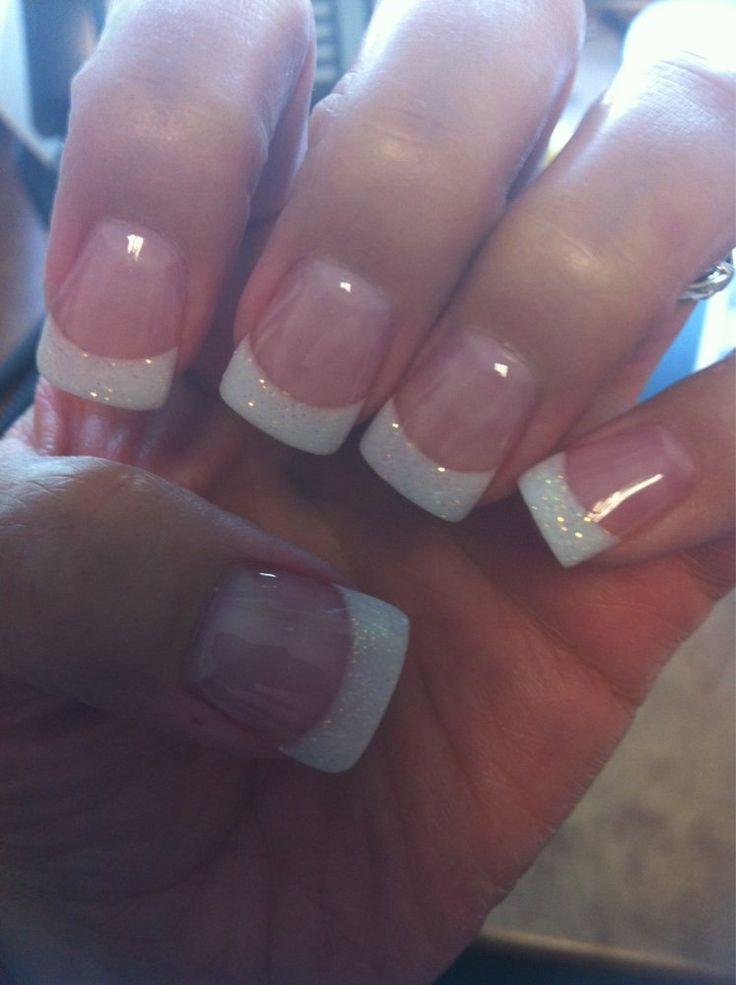 Envy Nails - San Antonio, TX, United States. Fills w/AMANDA. Solar pink & sparkly white powder w/a wide tip & gel topcoat. GREAT JOB!