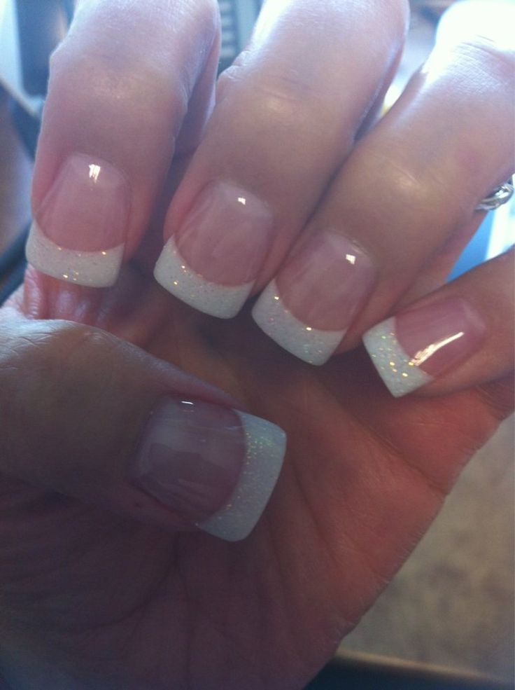 Envy Nails - San Antonio, TX, United States. Fills w/AMANDA. Solar pink & sparkly white powder w/a wide tip & gel topcoat. GREAT JOB!