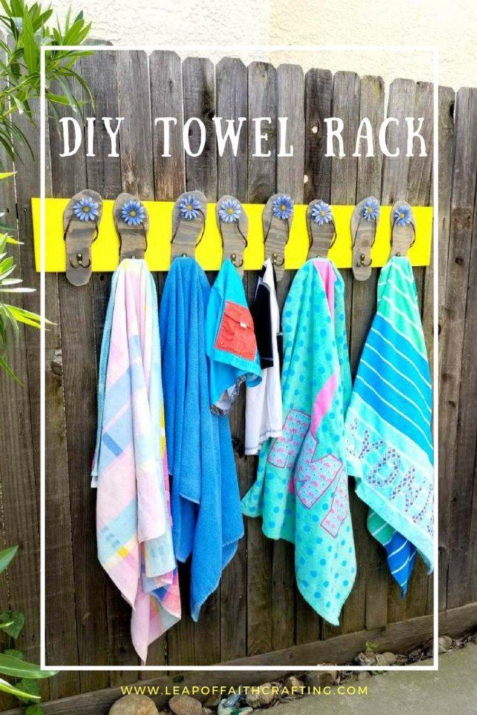 Pool Towel Rack With Flip Flops Diy Tutorial Towel Rack Pool