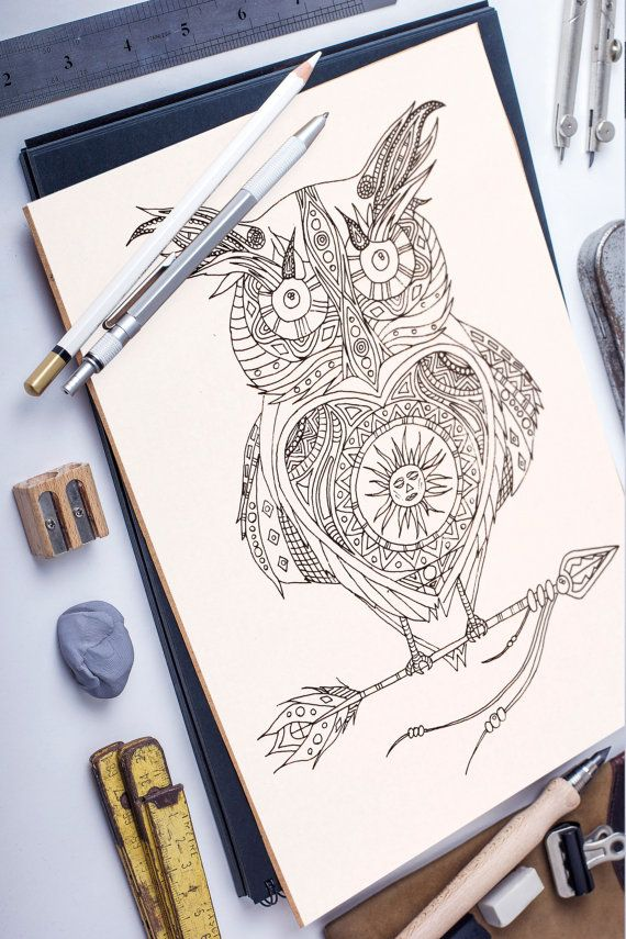 Solar Owl adult coloring page