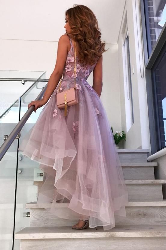 Buy A-Line V-neck Hi-Lo Lilac Prom Dresses 8th Graduation Dress with Flowers OP822