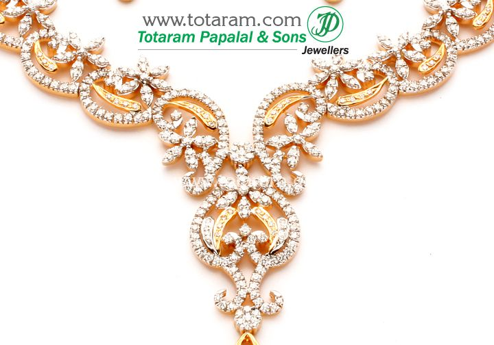 Check out the deal on Diamond necklace with matching Earrings in 18 karat Gold at Totaram Jewelers: Buy Indian Gold jewelry & 18K Diamond jewelry