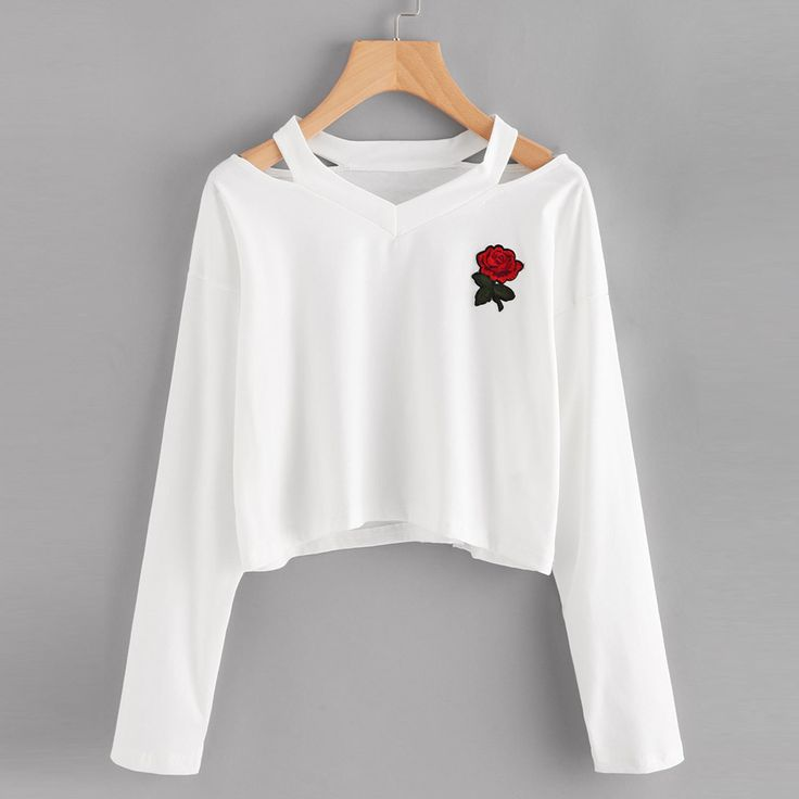 Cheap women sweatshirt, Buy Quality sudaderas mujer directly from China sweatshirt harajuku Suppliers: Cropped Sudaderas Mujer 2017 Holes Harajuku Women Sweatshirt Harajuku Long Sleeve Black Rose Long Sleeve Jumpers Survetement#121