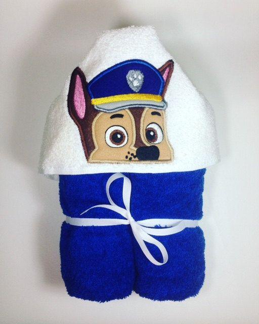 Paw Patrol Hooded Bath Towel, Chase Hooded Towel, Police Dog, Bathtime, Paw Patrol Peeker, Birthday Gift, Baby Shower, Paw Patrol Chase, Dog by TreasuresByTan on Etsy
