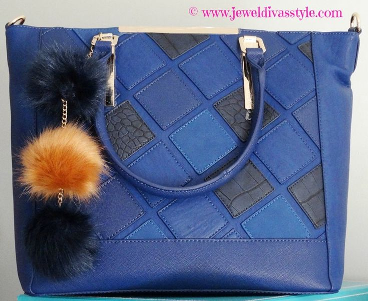 JDS - added to my handbag collection: Colette Hayman Navy bag - more details at - http://jeweldivasstyle.com/my-brand-new-bags-and-i-see-bag-bling-is-on-the-rise-again/