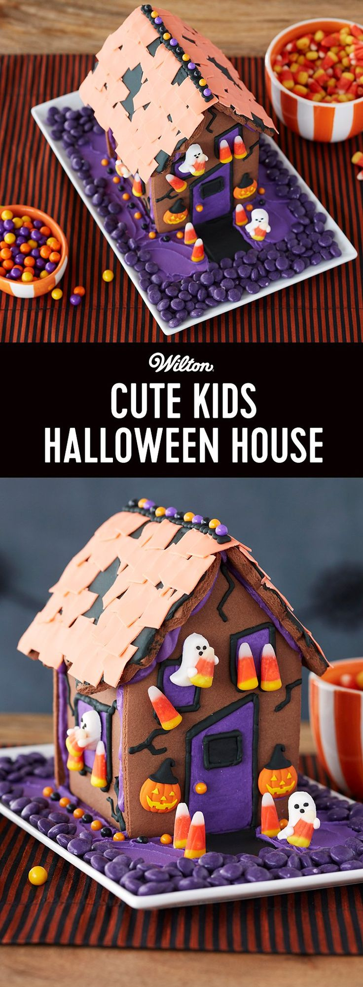 Cute Kids Halloween House - Any kid will tell you how much fun Halloween can be! On those exciting days leading up to trick-or-treating, get the family together and join in the fun. Start with the Wilton® Ready to Decorate Halloween Cookie House Kit and add Jack-O'-Lantern and Ghost Icing Decorations. You will find out how easy it is to decorate a kid-friendly Halloween house that is as cute as can be!