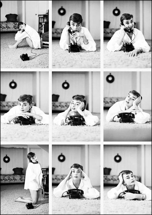 {Audrey + the phone} photographer Mark Shaw, 1953