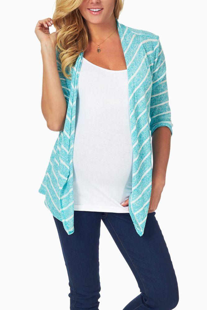 Aqua-White-Striped-Knit-Maternity-Cardigan #maternity #fashion