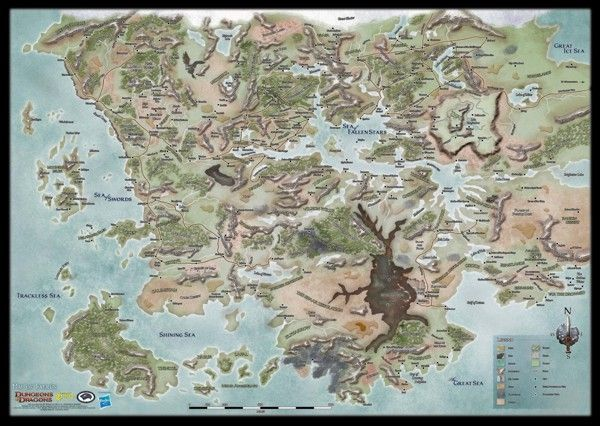 """D Forgotten Realms World Map (GF9 72761) - Vinyl, dimensions 30 x 42"""" - frame for wall"""