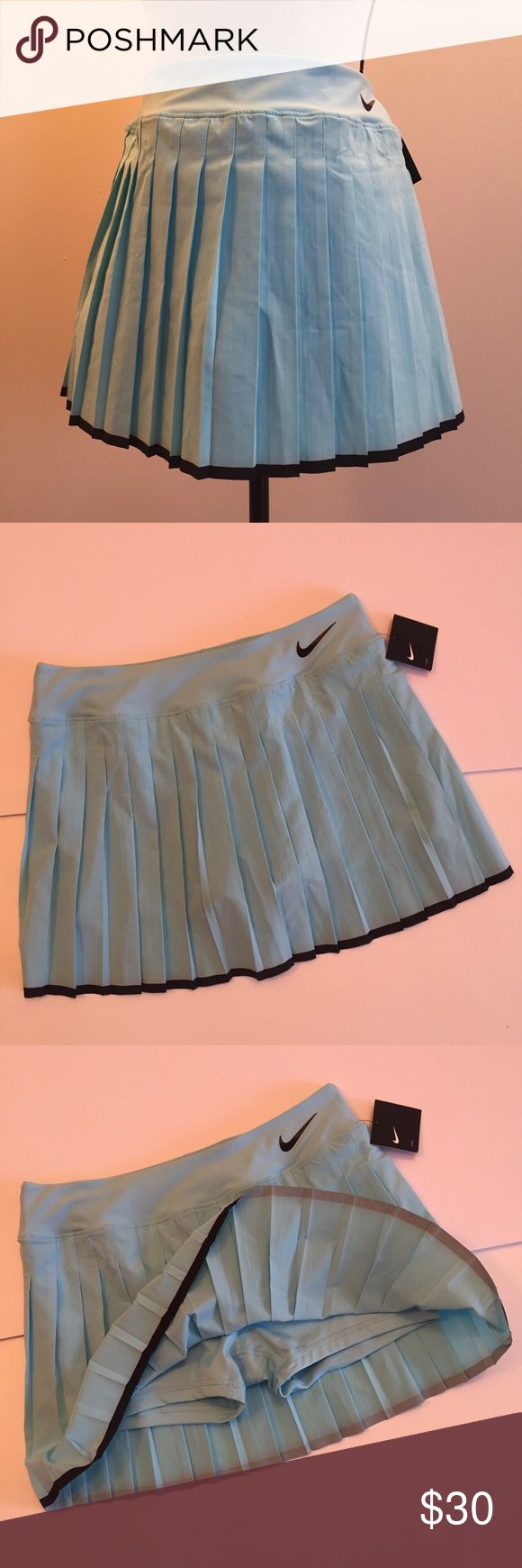 """Nike Winter Victory Skirt/ Skort Nike captures a tennis classic with this pleated Victory Skirt. This lightweight woven skirt features a flat elastic waistband, built-in compression short, all-around pleats, contrast trim at bottom hem, and a high density Swoosh at left hip. Color: Barely Green w/ Black. 14"""" length. New w/ tags. Nike Skirts"""
