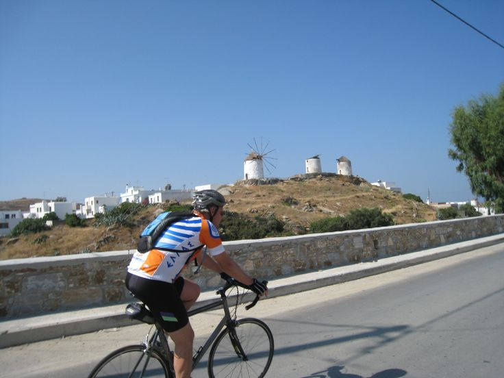 Local guide Brady passes the dormant windmills outside Vivlos.