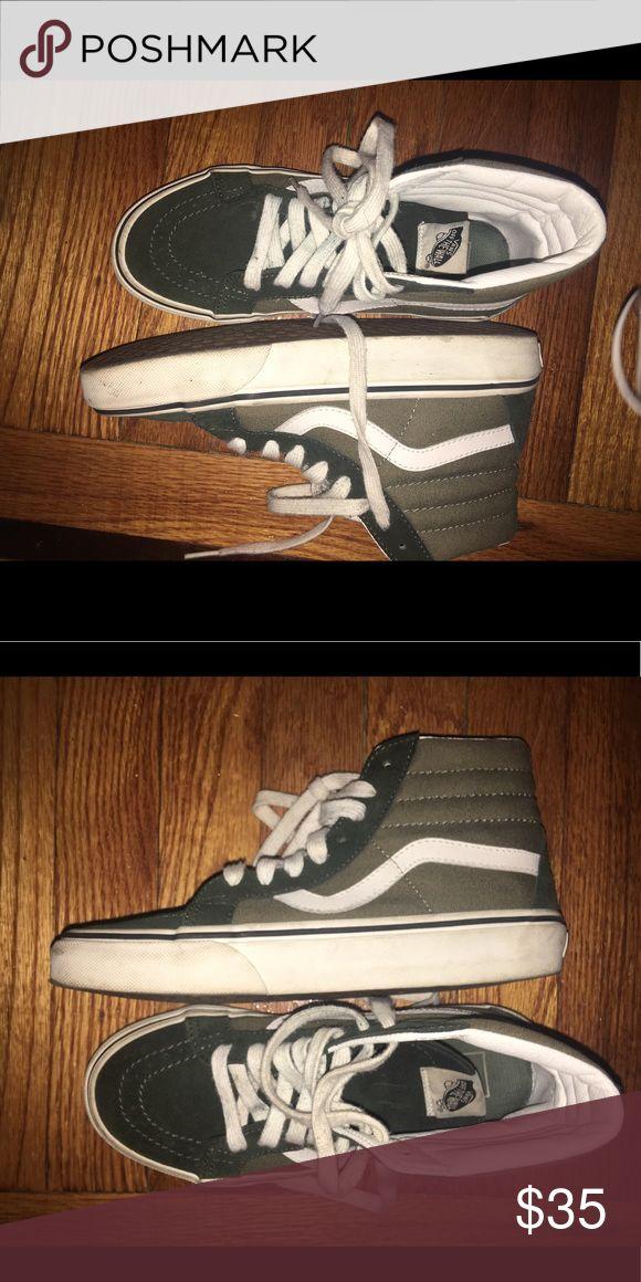 High top Vans Olive green high top vans Vans Shoes Sneakers
